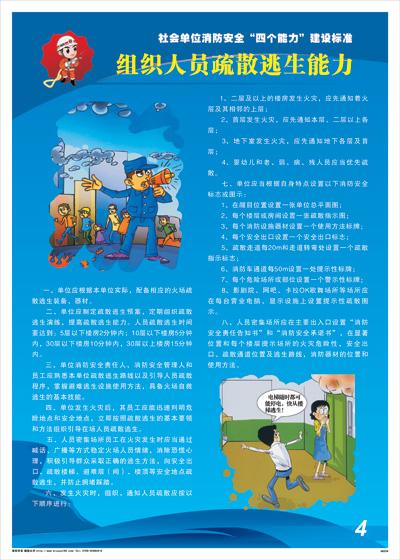 """社会单位消防安全""""四个能力""""建设标准-组织人员疏散逃生能力消防标语海报挂图"""