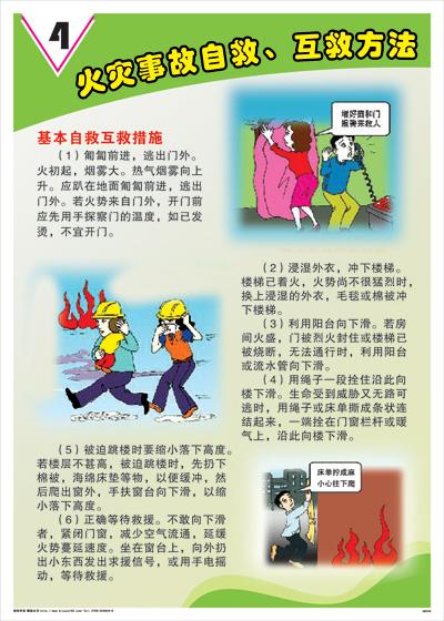 火灾事故自救互救方法-基本自救互救措施消防标语海报挂图