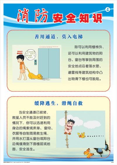消防安全知识-善用通道,莫入电梯消防标语海报挂图
